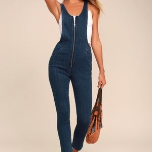 FREE PEOPLE Jax Denim Jumpsuit | Blue